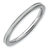 Stackable Expressions Sterling Silver White Enameled 1.5mm Ring