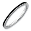 Stackable Expressions Sterling Silver Black Enameled 1.5mm Ring