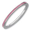 Stackable Expressions Sterling Silver Pink Enameled 1.5mm Ring