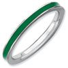 Stackable Expressions Sterling Silver Green Enameled 2.25mm Ring