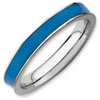 Stackable Expressions Sterling Silver Blue Enameled 3.25mm Ring
