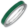 Stackable Expressions Sterling Silver Green Enameled 3.25mm Ring