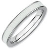 Stackable Expressions Sterling Silver White Enameled 3.25mm Ring