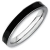 Stackable Expressions Sterling Silver Black Enameled 3.25mm Ring