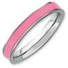 Stackable Expressions Sterling Silver Pink Enameled 3.25mm Ring