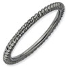 Stackable Expressions Sterling Silver Black-plated Twisted Ring