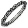 Stackable Expressions Sterling Silver Black-plated Cable Ring