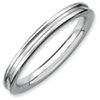 Stackable Expressions Sterling Silver Rhodium Grooved Ring