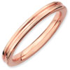 Stackable Expressions Sterling Silver Pink-plated Grooved Ring