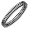 Stackable Expressions Sterling Silver Black-plated Grooved Ring