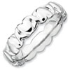 Stackable Expressions Sterling Silver Rhodium Hearts Ring