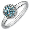 Stackable Expressions Sterling Silver Blue Topaz Rhodium Ring