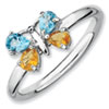 Stackable Expressions Sterling Silver Blue Topaz and Citrine Butterfly Ring