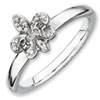 Stackable Expressions Sterling Silver Fleur De Lis Diamond Ring