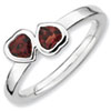 Stackable Expressions Sterling Silver Garnet Double Heart Ring