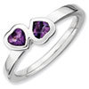 Stackable Expressions Sterling Silver Amethyst Double Heart Ring