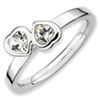Stackable Expressions Sterling Silver White Topaz Double Heart Ring