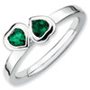 Stackable Expressions Sterling Silver Created Emerald Double Heart Ring