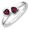 Stackable Expressions Sterling Silver Rhodolite Garnet Double Heart Ring