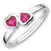 Stackable Expressions Sterling Silver Created Ruby Double Heart Ring