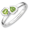 Stackable Expressions Sterling Silver Peridot Double Heart Ring