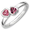 Stackable Expressions Sterling Silver Pink Tourmaline Double Heart Ring