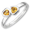 Stackable Expressions Sterling Silver Citrine Double Heart Ring
