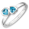 Stackable Expressions Sterling Silver Blue Topaz Double Heart Ring
