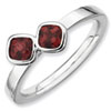 Stackable Expressions Sterling Silver Two Stone Garnet Ring