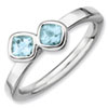 Stackable Expressions Sterling Silver Two Stone Aquamarine Ring