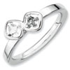 Stackable Expressions Sterling Silver Two Stone White Topaz Ring