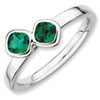 Stackable Expressions Sterling Silver Two Stone Created Emerald Ring