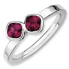 Stackable Expressions Sterling Silver Two Stone Rhodolite Garnet Ring