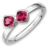 Stackable Expressions Sterling Silver Two Stone Created Ruby Ring