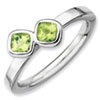 Stackable Expressions Sterling Silver Two Stone Peridot Ring