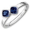 Stackable Expressions Sterling Silver Two Stone Created Sapphire Ring