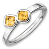 Stackable Expressions Sterling Silver Two Stone Citrine Ring