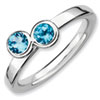 Stackable Expressions Sterling Silver Double Round Blue Topaz Ring