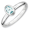 Stackable Expressions Sterling Silver Oval Aquamarine Ring