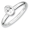 Stackable Expressions Sterling Silver Oval White Topaz Ring