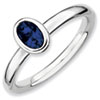Stackable Expressions Sterling Silver Oval Created Sapphire Ring