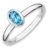 Stackable Expressions Sterling Silver Oval Blue Topaz Ring
