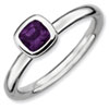 Stackable Expressions Sterling Silver Cushion Cut Amethyst Ring