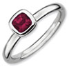 Stackable Expressions Sterling Silver Cushion Cut Rhodolite Garnet Ring
