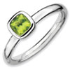 Stackable Expressions Sterling Silver Cushion Cut Peridot Ring