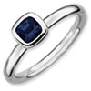 Stackable Expressions Sterling Silver Cushion Cut Created Sapphire Ring