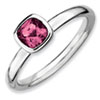 Stackable Expressions Sterling Silver Cushion Cut Pink Tourmaline Ring