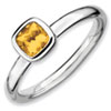 Stackable Expressions Sterling Silver Cushion Cut Citrine Ring
