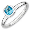 Stackable Expressions Sterling Silver Cushion Cut Blue Topaz Ring