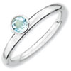 Stackable Expressions Sterling Silver High Profile 4mm Round Aquamarine Ring